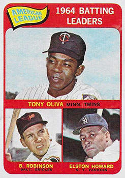 1965 Topps Baseball Card (#1 Tony Oliva, Elston Howard, Brooks Robinson)