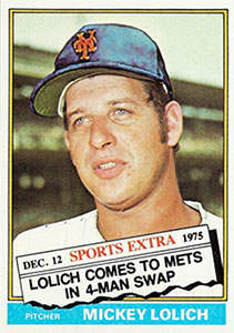 1976 Topps Traded Baseball Card (#385T Mickey Lolich)