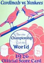 1926 World Series Score Card
