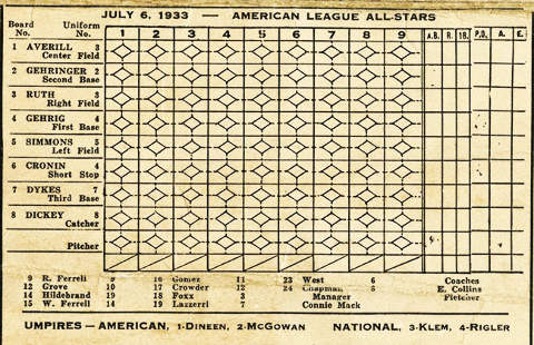 1933 All-=Star Game Program