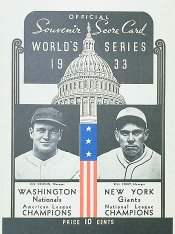1933 World Series Program, Washington Senators Version