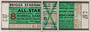 1941 All-Star Game Ticket