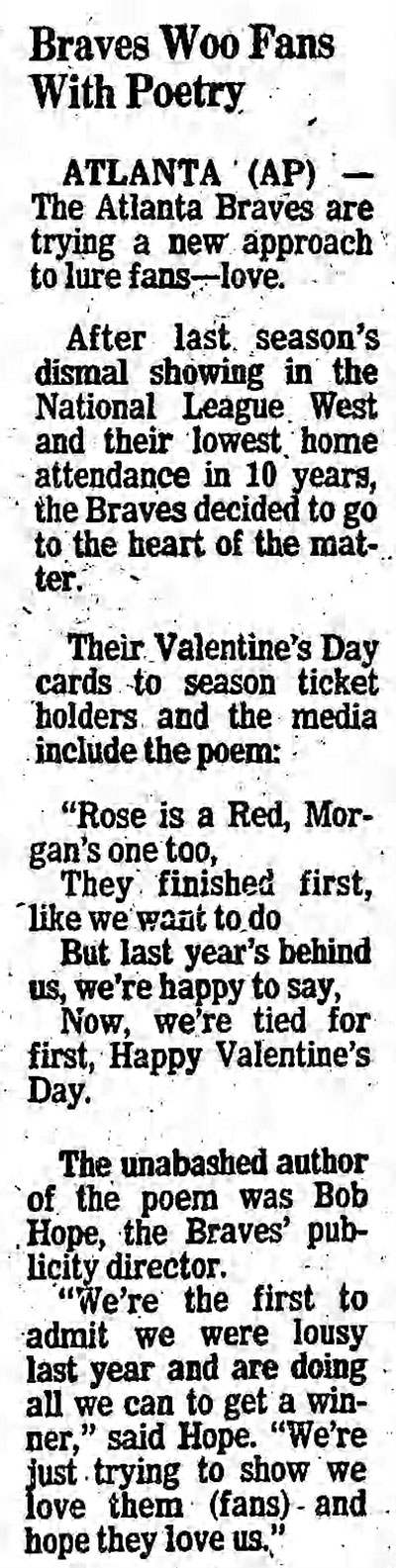 Atlanta Braves Valentine's Day Poem