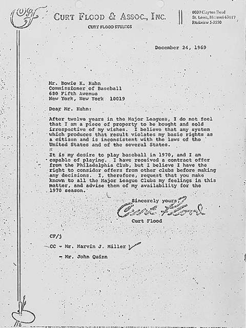 Curt Flood Letter to Bowie K. Kuhn