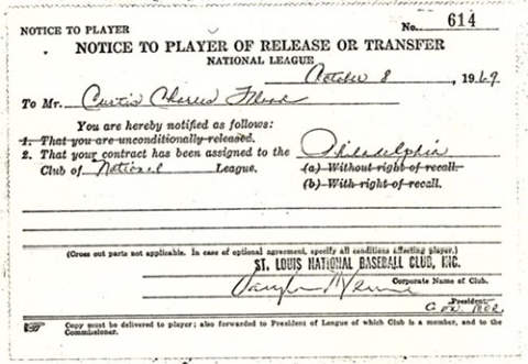 Curt Flood Notice to Player of Release or Transfer