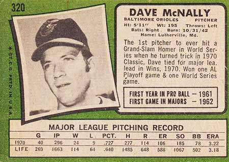Dave McNally Baseball Card