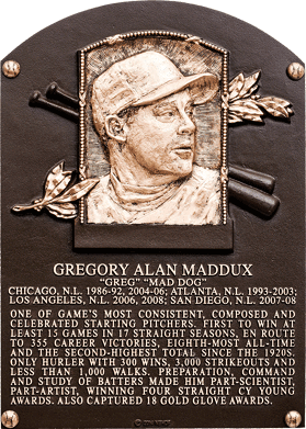 Greg Maddux Hall of Fame Plaque