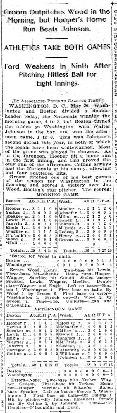 Harry Hooper Record Setting Box Score