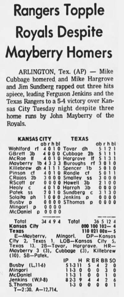 John Mayberry, Three Home Runs in a Game