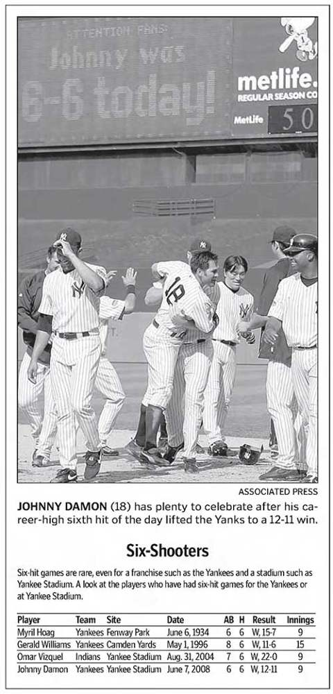 Johnny Damon, 6-for-6 Game