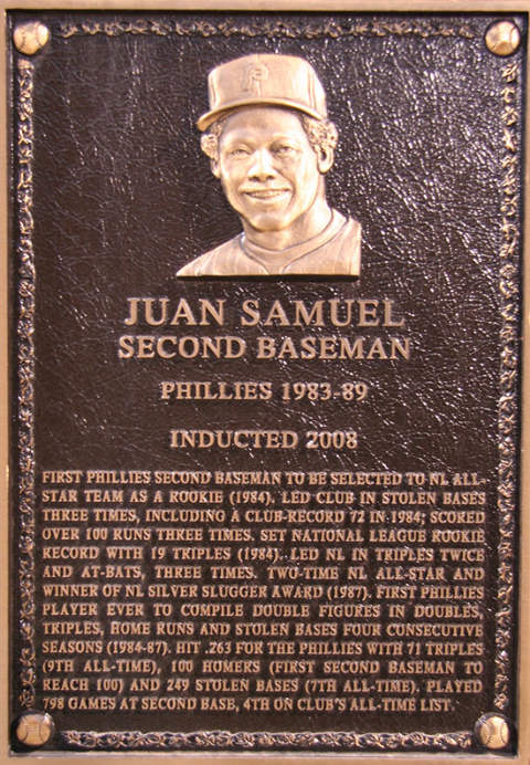 Juan Samuel, Phillies Hall of Fame Plaque