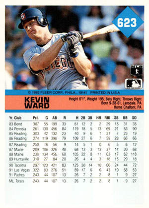 Kevin Ward Baseball Card