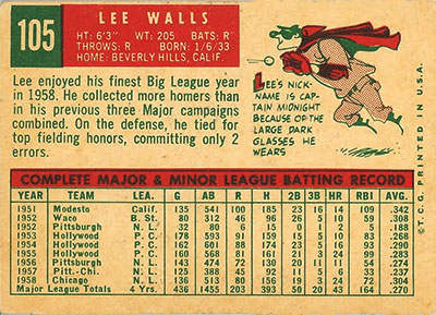Lee Walls Baseball Card