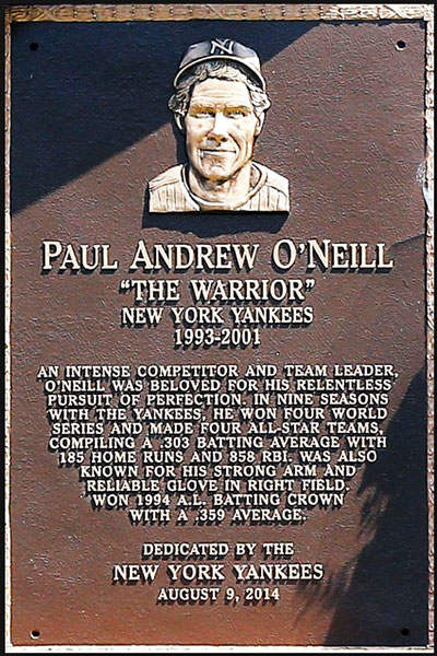 Paul O'Neill Plaque in Monument Park