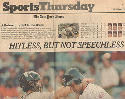 New York Times Pete Munro No Hitter