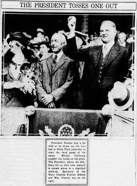 President Hoover First Pitch in 1931 World Series
