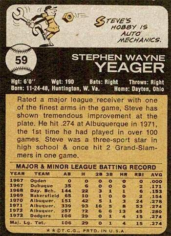 Steve Yeager Rookie Baseball Card
