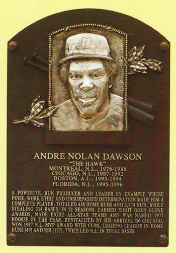 Andre Dawson Hall of Fame Plaque