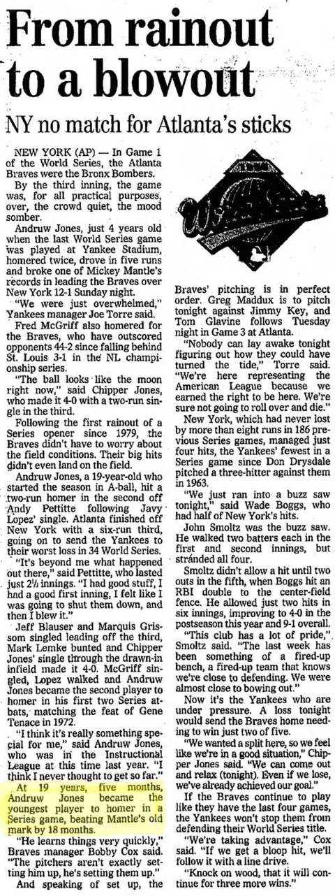 Andruw Jones Home Run History Newspaper Story