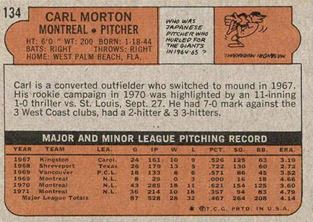 Carl Morton Baseball Card