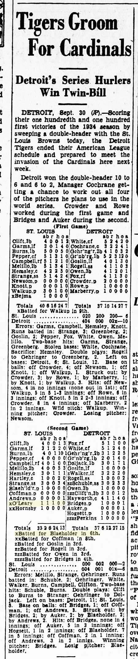Charley O'Leary, Record Setting Box Score
