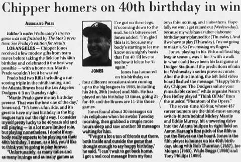 Chipper Jones Home Run on 40th Birthday