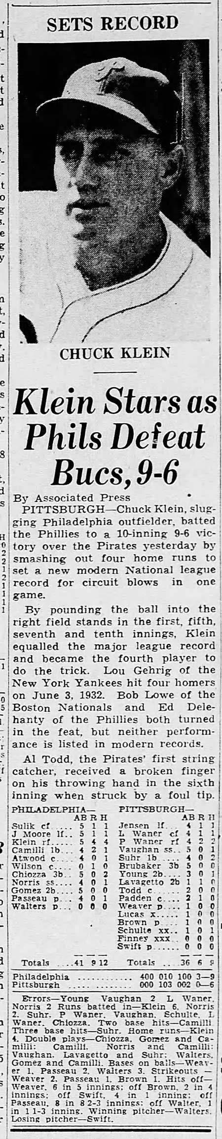 Chuck Klein, Four Home Runs in a Game