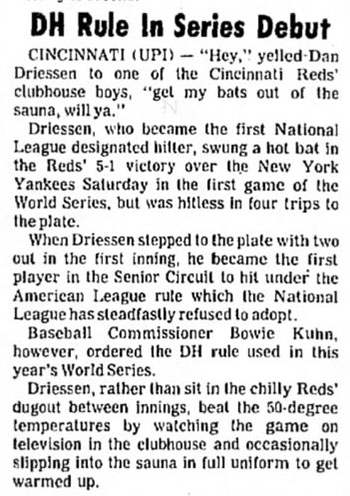Dan Driessen, First N.L. Designated Hitter