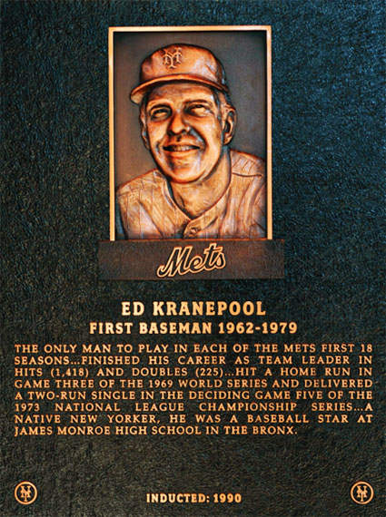 Ed Kranepool Mets Hall of Fame Plaque
