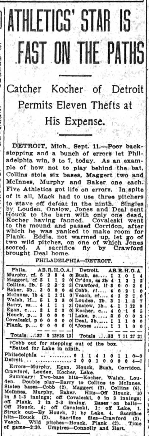 Eddie Collins, Six Stolen Bases in a Game