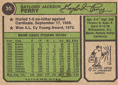 Gaylord Perry No Hitter