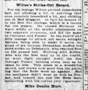 Hook Wiltse Strikeout Record