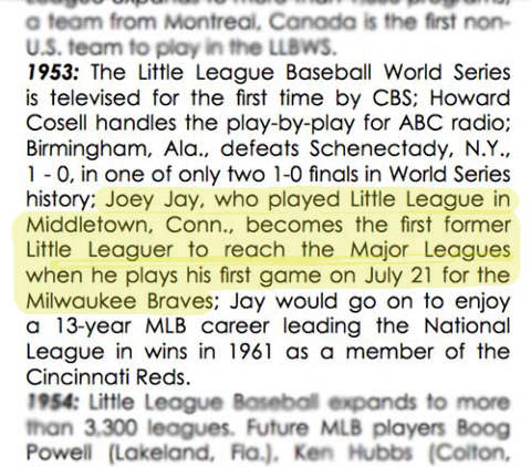 Joey Jay, First Little League to Major League Player