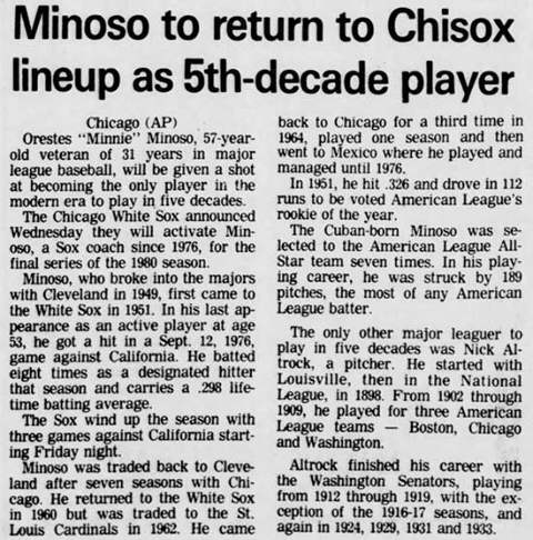 Minnie Minoso Plays in Five Decade