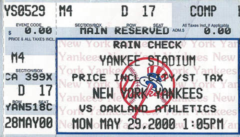 Randy Velarde Unassisted Triple Play Ticket
