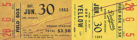 Sandy Koufax No Hitter #1 Ticket