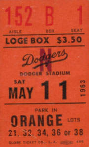 Sandy Koufax No Hitter #2 Ticket