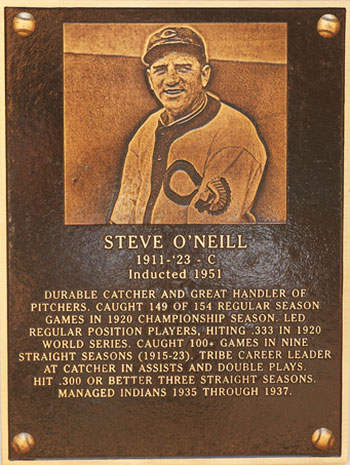 Steve O'Neill Hall of Fame Plaque