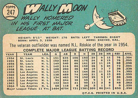 Wally Moon Baseball Card