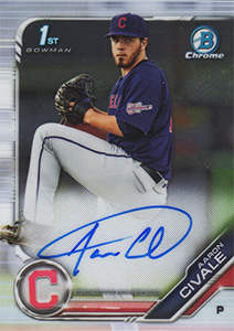 Aaron Civale Autograph on a 2019 Bowman Chrome Baseball Card (#CPA-AC)