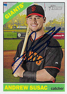 Andrew Susac Autograph on a 2015 Topps Heritage Baseball Card (#31)