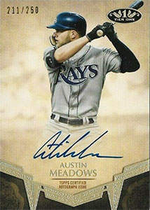 Austin Meadows Autograph on a 2019 Topps Tier One Baseball Card (#BA-AM)