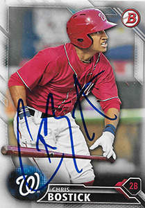 Chris Bostick Autograph on a 2016 Bowman Baseball Card (#BP140)