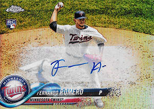 Fernando Romero Autograph on a 2018 Topps Chrome Baseball Card (#HMT17)
