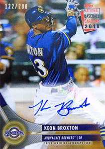 Keon Broxton Autograph on a 2018 Topps Baseball Card (#122/200)