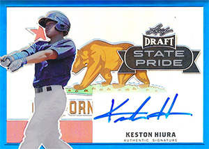 Keston Hiura Autograph on a 2017 Leaf Metal Draft Baseball Card (#14/25)