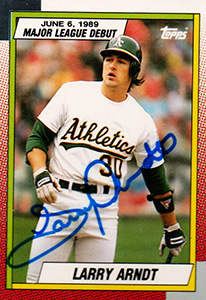 Larry Arndt Autograph on a 1989 Topps Baseball Card (#7)
