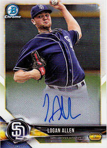 Logan Allen Autograph on a 2018 Bowman Chrome Baseball Card (CPA-LA)