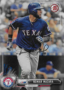 Nomar Mazara Autograph on a 2017 Bowman Baseball Card (#30)