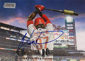 Odúbel 'Torito' Herrera Autograph on a 2019 Topps Stadium Club Baseball Card (#SCA-OH)
